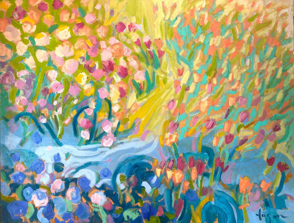 Colorful Flower Garden Painting by Dorothy Fagan