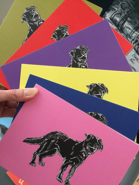 Dog Portrait Silhouettes Fine Art Prints on Flat Cards by Marie Stephens Art