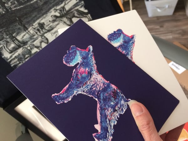 Funky Blue Schnauzer Dog Sketches by Marie Stephens Art