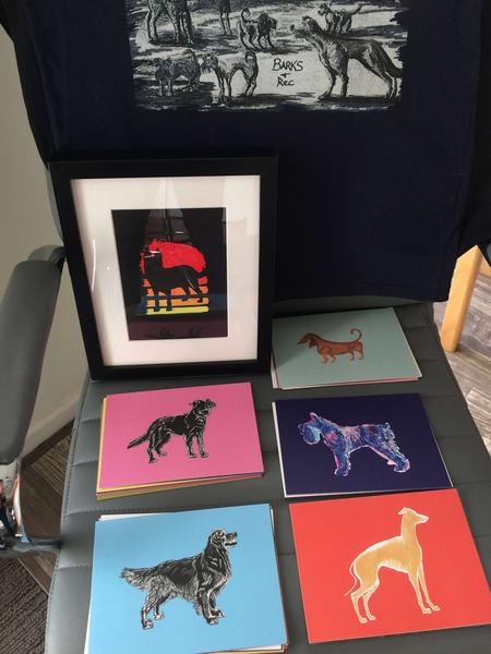German Shepherd Silhouette 5x7 Cards by Marie Stephens Art