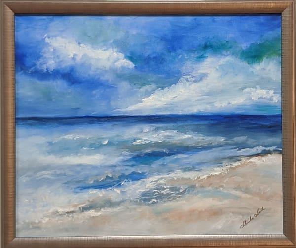 Sheila Sell - original artwork - beach - ocean - storm - Peace in the Approaching Storm