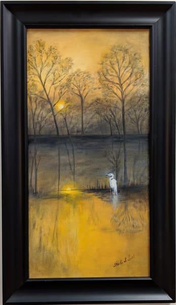 Sheila Sell - original artwork - nature - birds - heron - winter - Tranquil