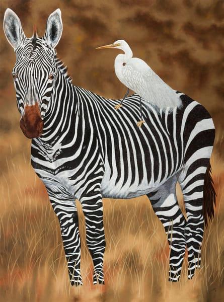 Zebra And Egret   Original Art | Mercedes Fine Art