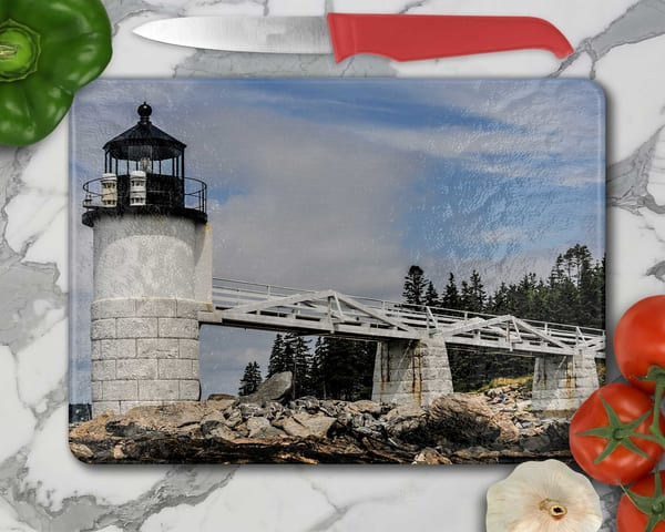 Marshall Point Maine Lighthouse - Tempered Glass Cutting Board