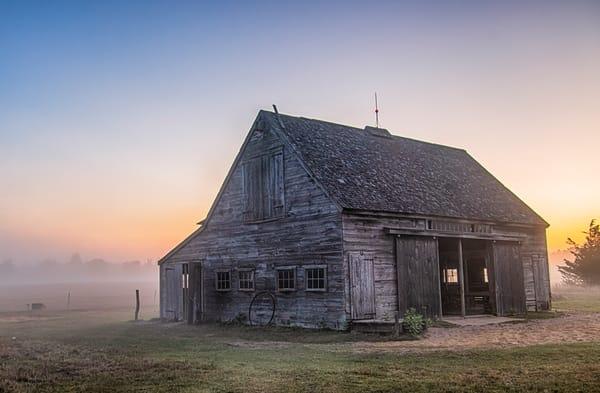 Honey Barn Late Summer Fog Art | Michael Blanchard Inspirational Photography - Crossroads Gallery