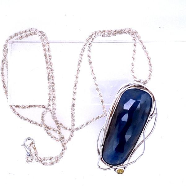 Sapphire and Yellow Diamond Pendant