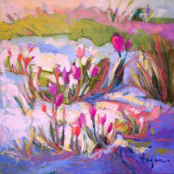 Hot Pink Tulip Painting Canvas Art by Dorothy Fagan