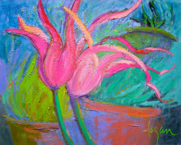 Pink Parrot Tulips Painting Canvas Art by Dorothy Fagan