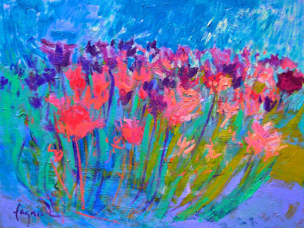 Abstract Tulips Painting Canvas Art by Dorothy Fagan