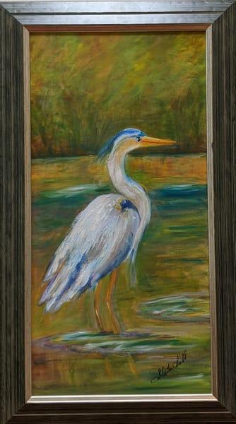 Sheila Sell - original artwork - nature - bird - Posing Heron