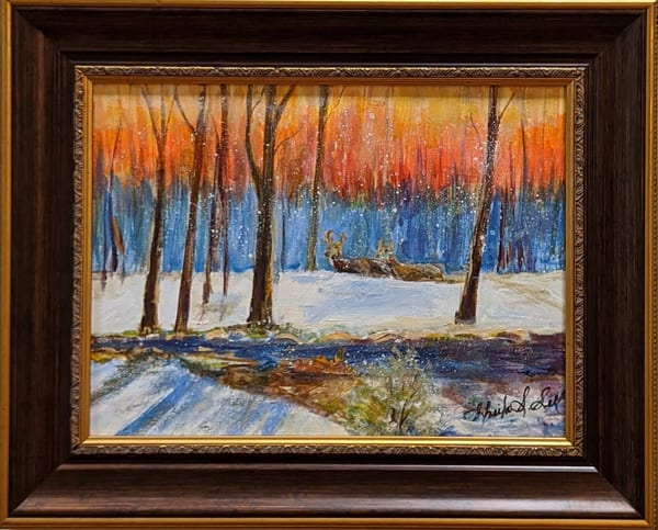 Sheila Sell - original artwork - nature - landscape - winter - Red Sky in the Morning