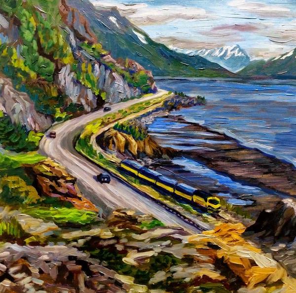 Alaska Train to Seward Railroad along Coast Art Print by Amanda Faith Thompson