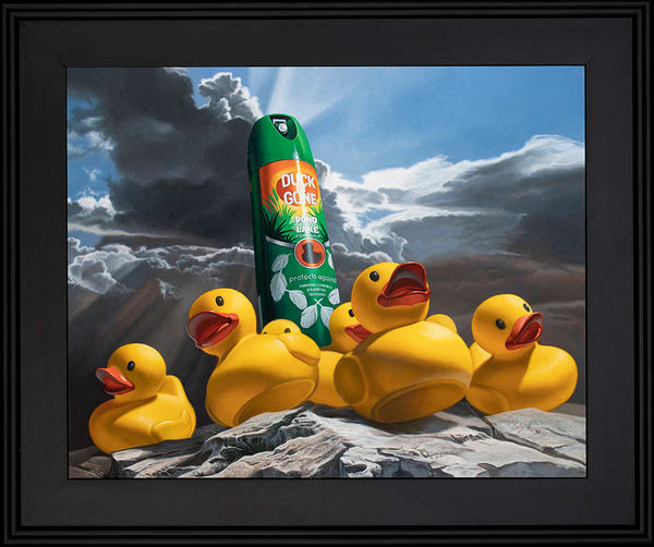 """""""Duck Off"""" painting with rubber ducks & repellent spray"""