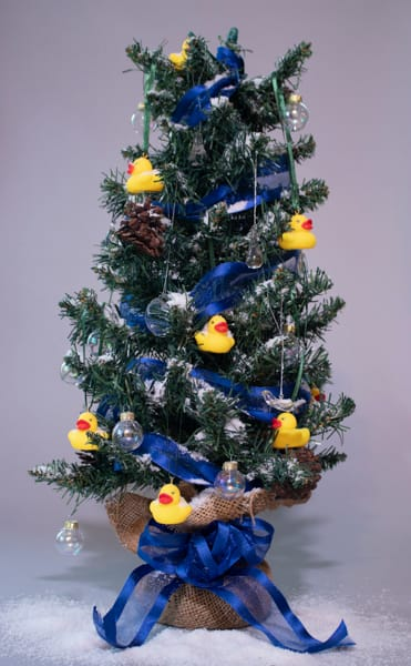 Tiny rubber duck holiday ornaments