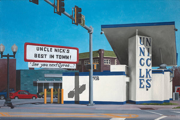 Gas Station Turned Gyro Stand | Original Oil Painting | Rockford, IL