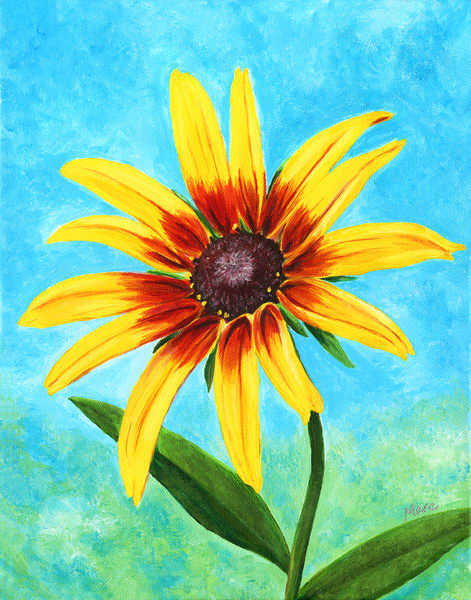 """Original acrylic artwork by artist Mary Anne Hjelmfelt, titled """"Firecracker"""" - a warm, floral painting of the black/brown-eyed Susan."""