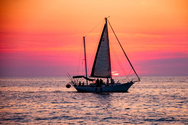 Sailboat at Sunset in Puerto Vallarta