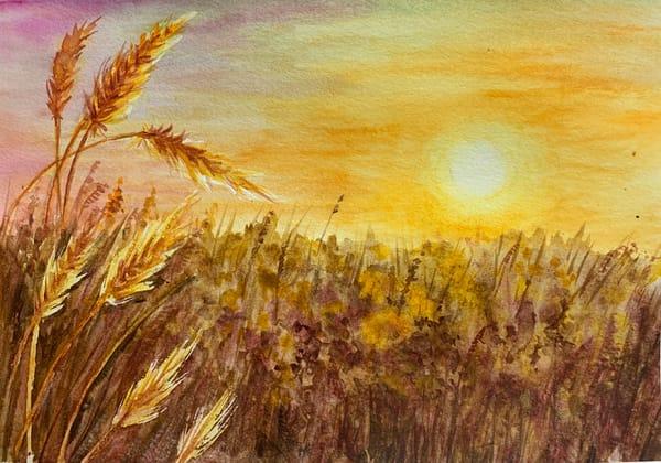 Sunset, painting, watercolors, aprajita, original, golden
