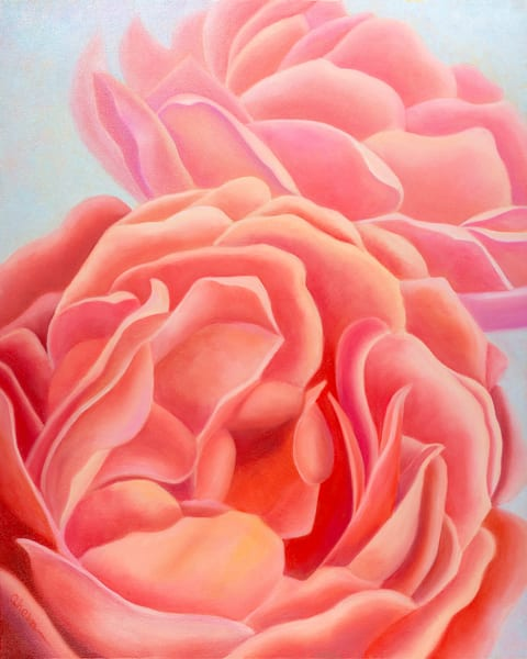 We Are Sisters - Coral Roses is an oil painting on gallery wrapped canvas with a  natural wood floating frame.