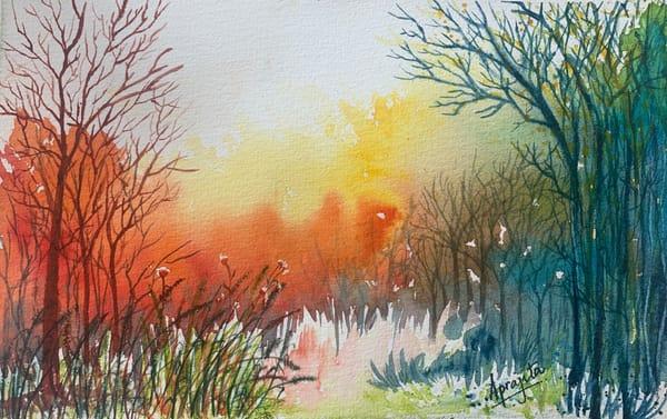 """Vivid Forest 2"" in Watercolors by Aprajita Lal (Original 5.5x7.5)"