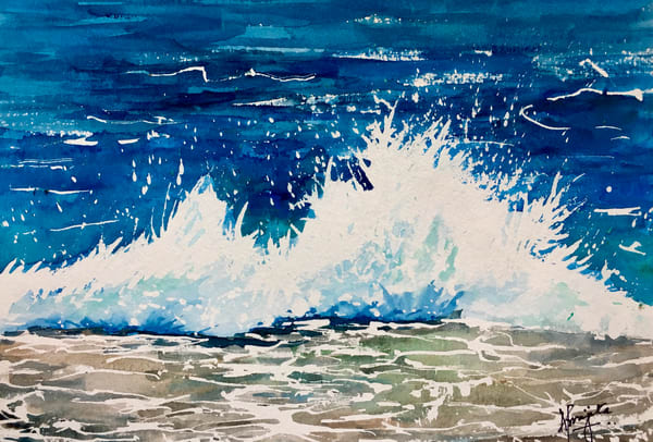 crashing wave by Aprajita Lal on watercolor paper