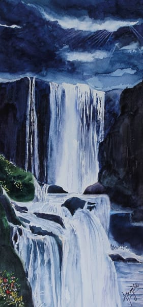 Waterfall in watercolors by Aprajita Lal
