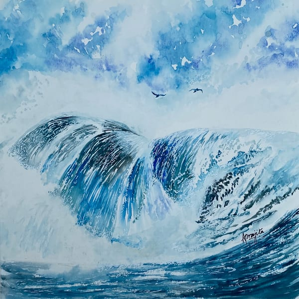 """Waterfall-2"" painting in watercolors by Aprajita Lal"