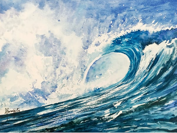 """Crashing Waves 4"" in watercolors by Aprajita Lal"