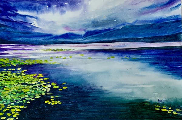"""""""Lake with Lily Pads"""" in Watercolors by Aprajita Lal 12X18 inches original"""