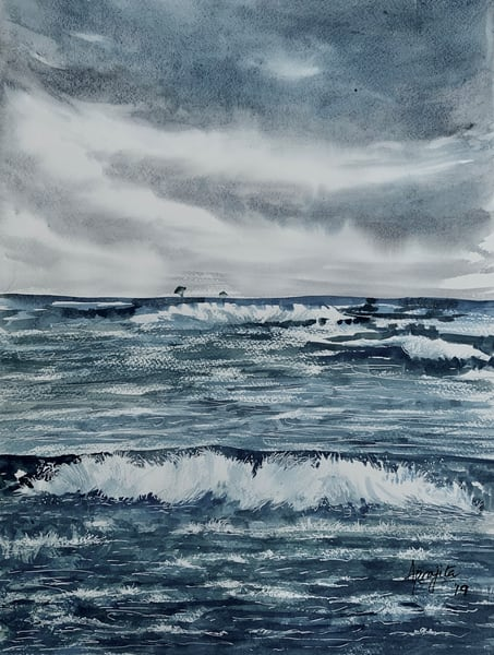 """Waves-2"" in watercolors by Aprajita Lal"
