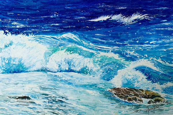 Waves in watercolors by Aprajita Lal