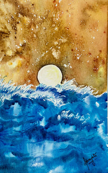 Golden Sun by Aprajita lal in Watercolors