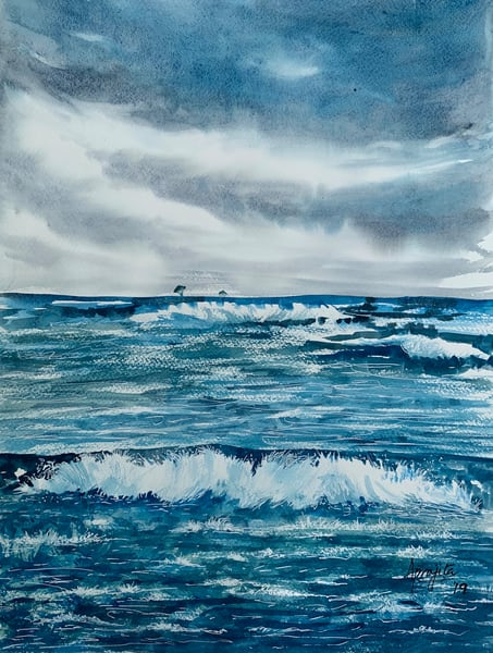 Waves, Aprajita Lal, watercolors, painting, original