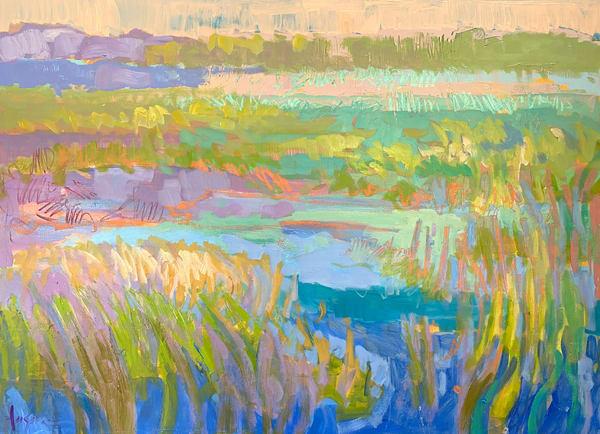 Large Marsh Painting, Original Oil by Dorothy Fagan