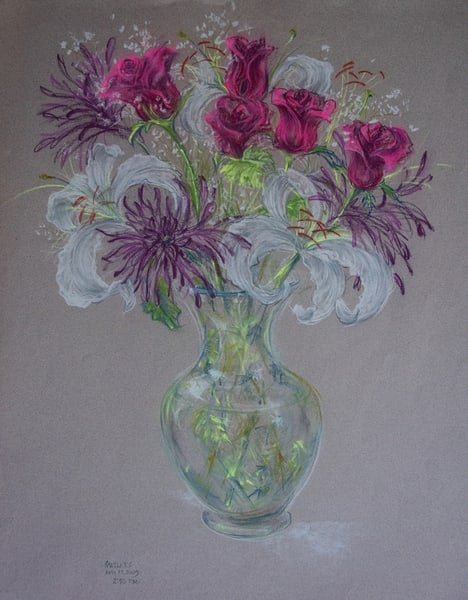 Bouquet With Lillies, Pastel On Paper, 2009 Art | Roost Studios, Inc.