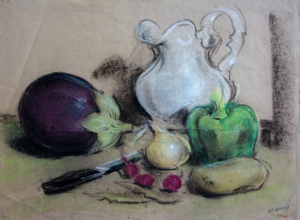 Still Life With White Pitcher, Pastel On Paper, 1968 Art | Roost Studios, Inc.