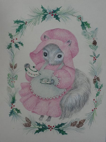 Mother Squirrel, Pouring Tea, Colored Pencil Art | Roost Studios, Inc.