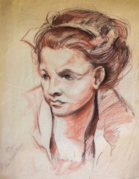 (After) Holbein Sketch, Conte Crayon On Paper, 1982 Art | Roost Studios, Inc.