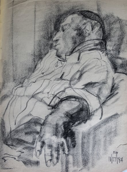 Harold Resting, Charcoal On Paper, 1984 Art | Roost Studios, Inc.