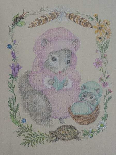 Mother Squirrel, Reading, Colored Pencil Art | Roost Studios, Inc.