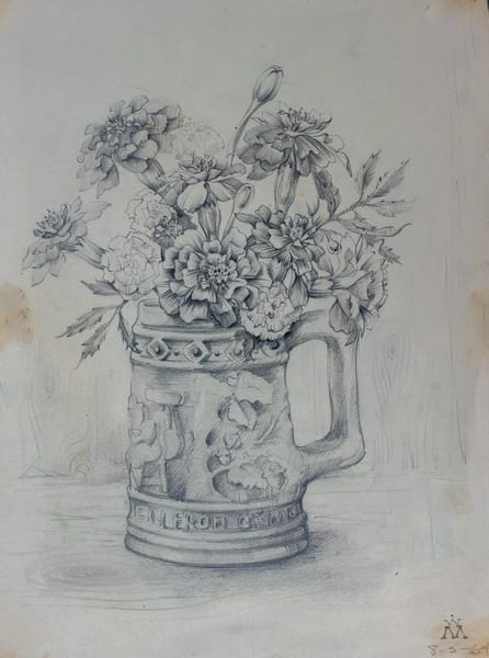 Marigolds In A Stein, Pencil Sketch, 1964 Art | Roost Studios, Inc.
