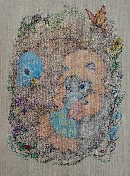 Mother Squirrel And Her Helper, Colored Pencil Art | Roost Studios, Inc.