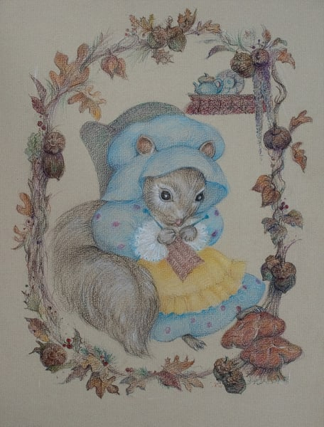 Mother Squirrel, Waiting, Colored Pencil Art | Roost Studios, Inc.
