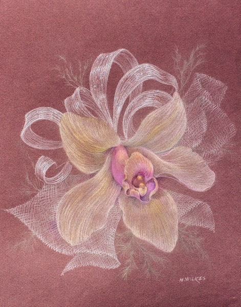 Orchid Series, No. 1, Corsage For The Wedding, Colored Pencil, 1996 Art | Roost Studios, Inc.