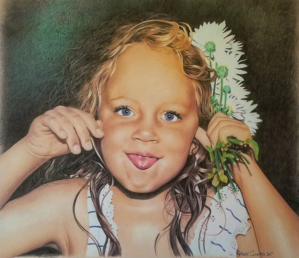 Mischievous Liese is a color pencil portrait painting by Greg V Smith