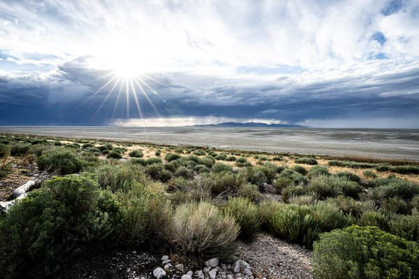 The Calm Before - A stormy sunset on Antelope Island in Utah photograph print