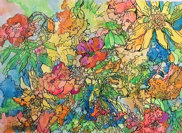 Spring Gardens Art | vibrant art studio, Art by Annette Dion McGowan