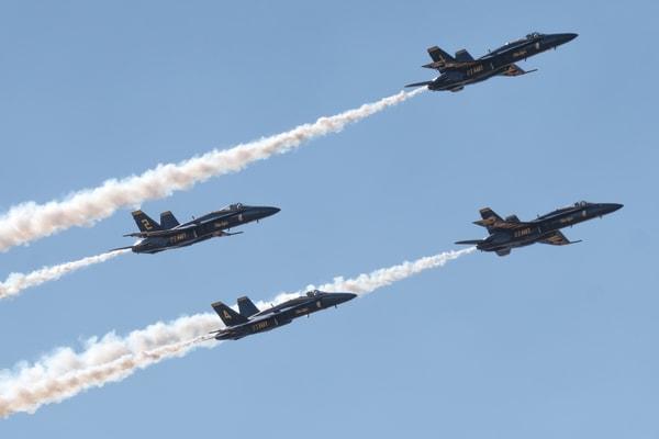 Blue Angels Delta Formation Flies Overhead
