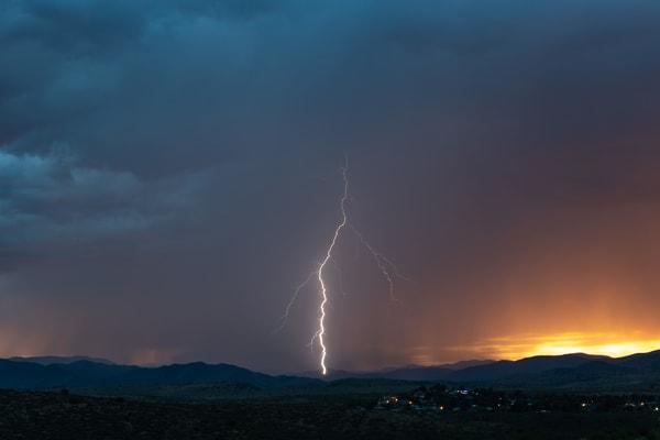 Lightning during Monsoon storm near Prescott, Arizona