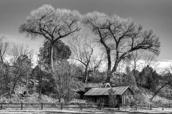 Mill at Crescent Moon Ranch, Sedona, Arizona black and white